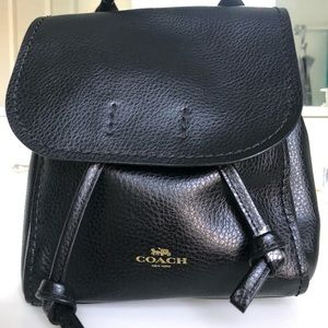 Coach Derby Black Leather Backpack